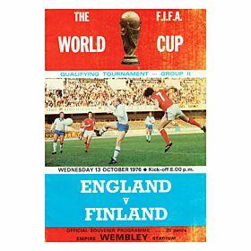 England vs Finland - 1976 WC Qualifier at Wembley Stadium Program, Oct. 13th, 1976