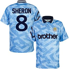 1992 Man City Home Retro Shirt + Sheron 8 (Retro Flock Printing)