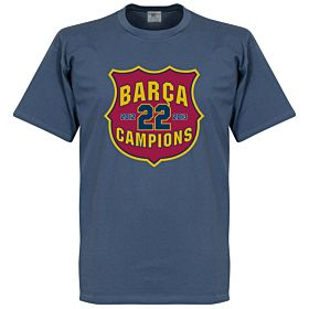 Barcelona 22 Champions Crest Tee - Denim