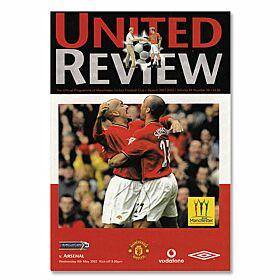 Man Utd vs Arsenal EPL Match at Old Trafford Program - May 8, 2002