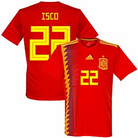 Spain Home Isco 22 Jersey 2018 / 2019 (Fan Style Printing)