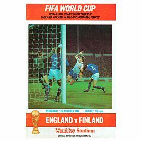 England vs Finland 1984 World Cup Qualifier at Wembley Stadium Program - Oct. 17, 1984