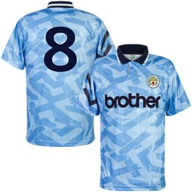 1992 Man City Home Retro Shirt + No. 8 (Retro Flock Printing)