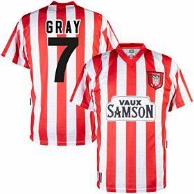 1997 Sunderland Home Retro Shirt + Gray 7 (Retro Flock Printing)