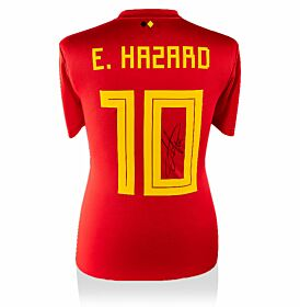 Eden Hazard Signed Belgium 18-19 Home Jersey Back Signed