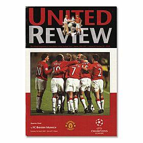 Man Utd vs Bayern Munich C/L Quarter Final Match Program - April 3, 2001