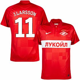 21-22 Spartak Moscow Home Shirt + J. Larsson 11 (Fan Style Printing)