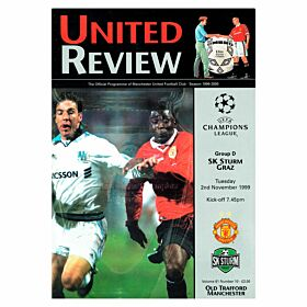 Man Utd vs Sturm Graz C/L Group D Match at Old Trafford Program - Nov. 2, 1999