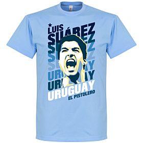 Luis Suarez Uruguay Portrait Tee - Sky