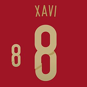 Xavi 8 - Spain Home Official Name & Number 2014 / 2015