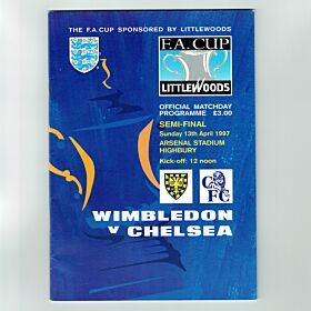 Wimbledon vs Chelsea - FA Cup Semi Final at Highbury 13th Apr. 1997