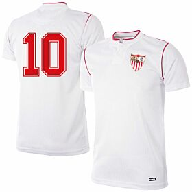 92-93 Sevilla Home Retro Shirt + No.10 (Retro Flock Printing)