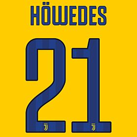 Höwedes 21 - Juventus Away Official Name & Number 2017 / 2018